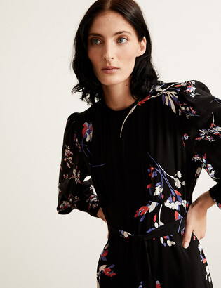 Marks and Spencer Floral Blouson Sleeve Maxi Waisted Dress