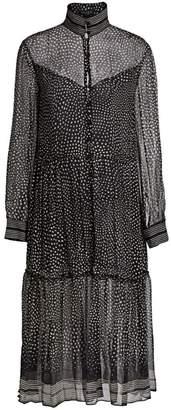Rag & Bone Libby Polka Dot Sheer Silk Flounce Shirtdress
