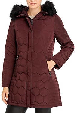 Calvin Klein Faux Fur Trim Hooded Quilted Coat