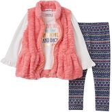 Little Lass Toddler Girl Faux-Fur Vest, Tee & Patterned Leggings Set