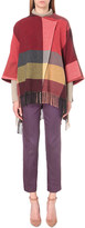 Etro Fringed checked wool-blend poncho