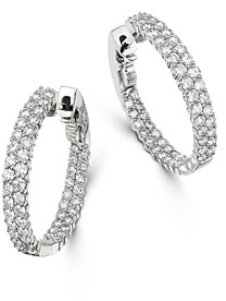 Bloomingdale's Diamond Double Row Inside Out Hoop Earrings in 14K White Gold, 2.50 ct. t.w. - 100% Exclusive
