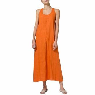 Armilum Women Dress Linen Dresses for Women Summer Dress Plus Size Fashion Women Summer Solid U Neck Sleeveless Cotton and Linen Casual Maxi Dress
