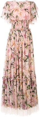 Dolce & Gabbana Ruched Lilies Dress