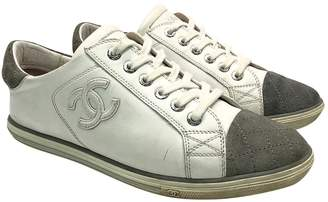 Chanel White Leather Trainers