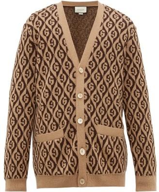 Gucci Logo Jacquard Wool Cardigan - Mens - Brown