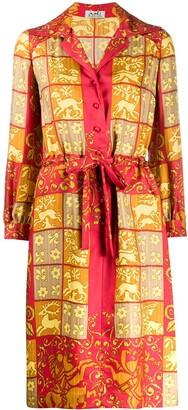 Hermes Pre Owned 1980s silk printed shirt dress