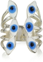 Bernard Delettrez Sterling Silver Ring w/6 Blue Eyes