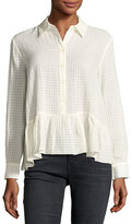 The Great The Ruffle Flounce-Hem Oxford Shirt, Cream