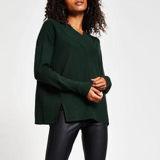 River Island Womens Dark Green v neck chunky trim jumper