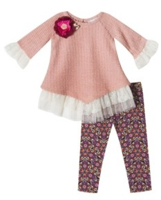 Rare Editions Baby Girls 2-Pc. Lace Detailed Top & Floral-Print Leggings Set