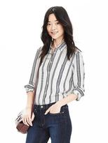 Banana Republic Dillon-Fit Striped Linen/Cotton Shirt