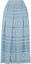 House of Holland Heart Guipure Lace Maxi Skirt - Blue