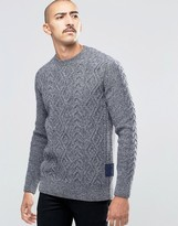 Barbour Jumper With Cable Knit In Blue