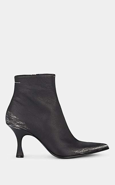 MM6 MAISON MARGIELA Women's Distressed Leather Ankle Boots - Black