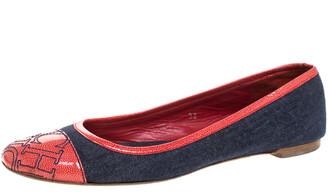 Carolina Herrera Blue Denim And Orange Patent Leather Logo Cap Toe Ballet Flats Size 38
