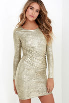 LuLu*s Luxe of My Life Gold Long Sleeve Dress
