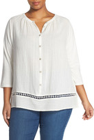 Lucky Brand Embroidered Inset Peasant Blouse (Plus Size)