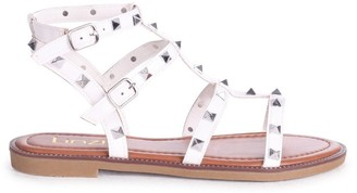 Linzi BILLIE - White Studded Gladiator Sandal With Embellished Sole