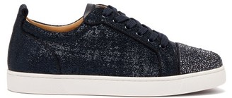 Christian Louboutin Louis Junior Crystal-embellished Lame Trainers - Mens - Blue