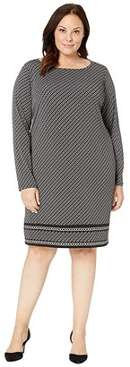 MICHAEL Michael Kors Size Chain Strap Long Sleeve Border Dress (Black/Silver) Women's Clothing