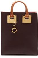 Sophie Hulme Tri-Color Mini Tote Bag In Oxblood And Tan