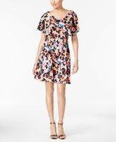 NY Collection Petite Printed Flutter-Sleeve Fit & Flare Dress