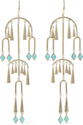 Noir 14-karat Gold-plated Stone Earrings