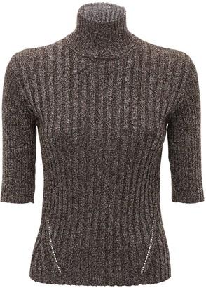 Ganni Glittered Rib Knit Turtleneck Sweater
