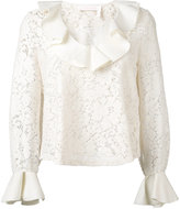 See by Chloe lace frill trim top - women - Cotton/Polyester/Viscose - XS