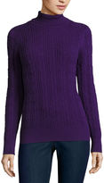 ST. JOHN'S BAY St. John's Bay Essential Long-Sleeve Cable-Knit Turtleneck Sweater - Tall
