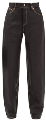 Eytys Benz Leather Straight Leg Trousers - Womens - Black