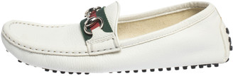 Gucci White Leather Horsebit Web Detail Slip On Loafers Size 36