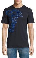 Versace Broken Medusa Graphic T-Shirt, Navy/Blue