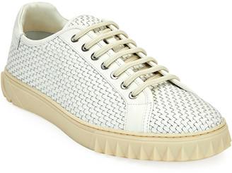Salvatore Ferragamo Men's Cube 17 Woven Leather Sneakers