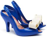 Melissa Lady Dragon Blue Contrast Bow Peep Toe Heels