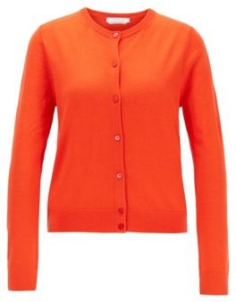 HUGO BOSS Knitted Crew Neck Cardigan In Virgin Wool - Orange