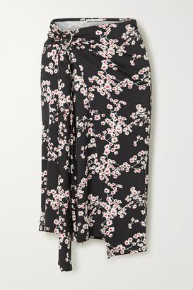 Paco Rabanne Gathered Floral-print Stretch-jersey Wrap Midi Skirt - Black