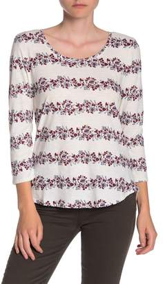 Lucky Brand 3/4 Sleeve Floral Stripe Scoop Neck T-Shirt