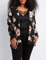 Charlotte Russe Plus Size Floral Crochet-Trim Cardigan