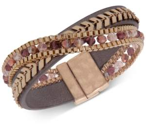 lonna & lilly Gold-Tone Stone & Bead Magnetic Wrap Bracelet