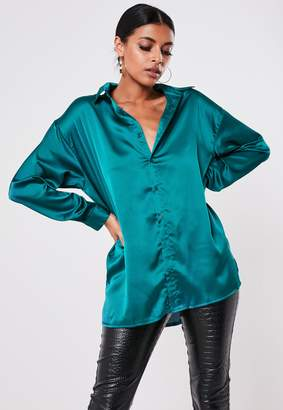 Missguided Tall Teal Satin Extreme Oversized Shirt