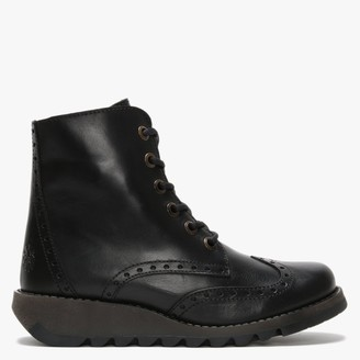 Fly London Marl Black Leather Low Wedge Lace Up Ankle Boot
