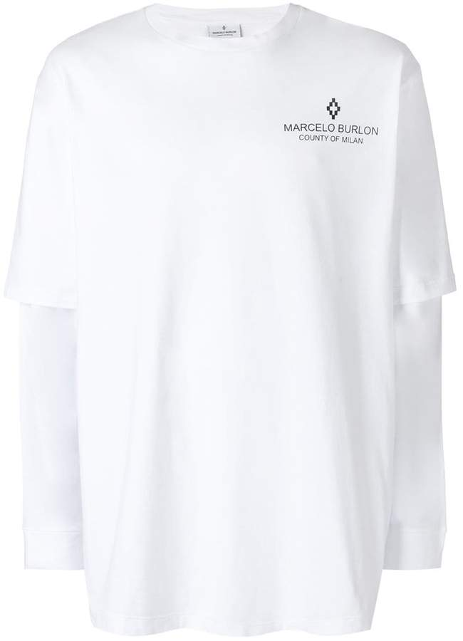Marcelo Burlon County of Milan logo print layered shirt