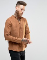 Asos Overhead Shirt In Camel Suedette With Long Sleeves