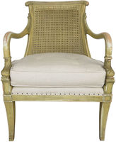 One Kings Lane Vintage French Cane & Linen Carved Armchair