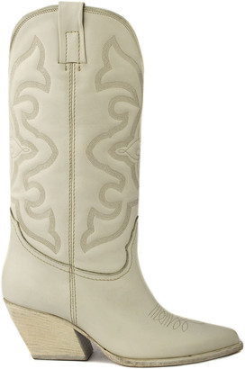 Elena Iachi White Leather Ankle Boots