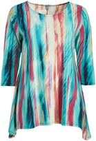 Glam Teal & Red Scarf Print Sidetail Tunic - Plus