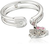 "Hello Kitty Hammered Disc White Rhodium"" White Rhodium Plated with Swarovski Crystal Pave Charm Ring, Size 7"