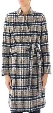 Peserico Belted Plaid Virgin Wool-Blend Coat